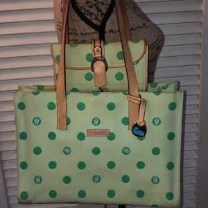 Dooney and Bourke Green Polka Dot Tote & Wallet